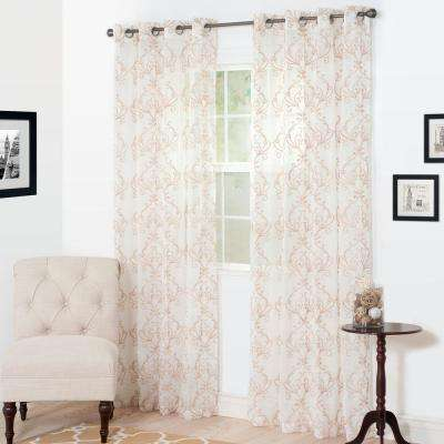 Semi-Opaque Valencia Taupe Polyester Curtain Panel 54 in. W x 95 in. L