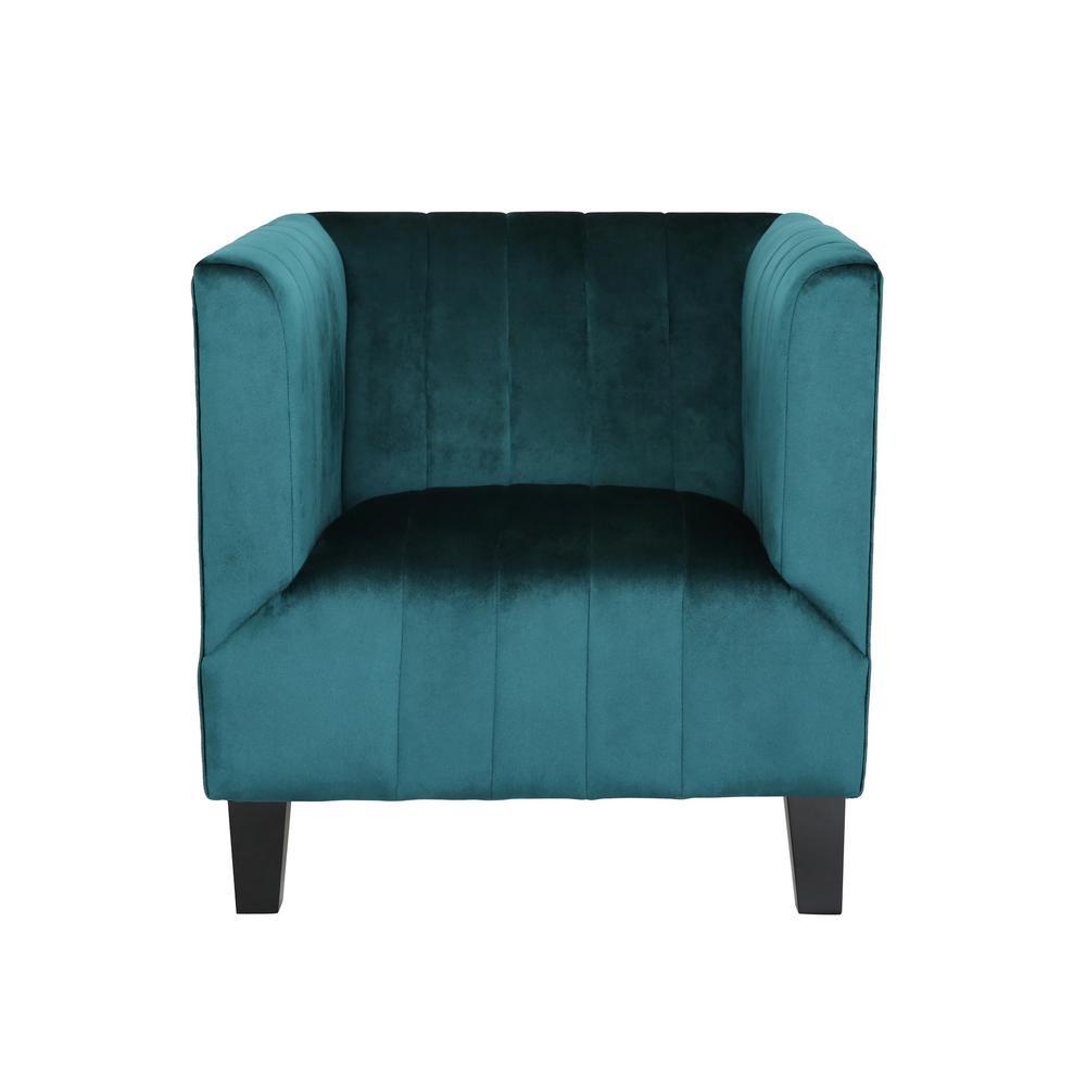Noble house tilla studded dark teal fabric club chair - Dark teal accent chair ...