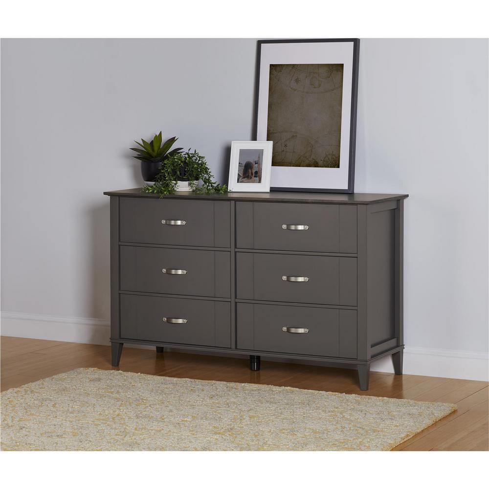 Quinn 6-Drawer Dark Gray Two Tone Dresser