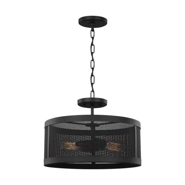 Gereon 2-Light Black Semi-Flush Mount Convertible Pendant
