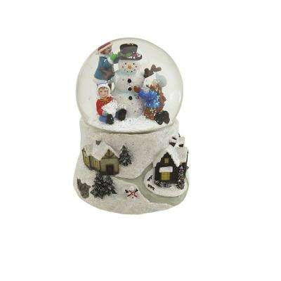 5.5 in. Christmas Snowman and Children Musical Swirling Snow Globe Glitterdome
