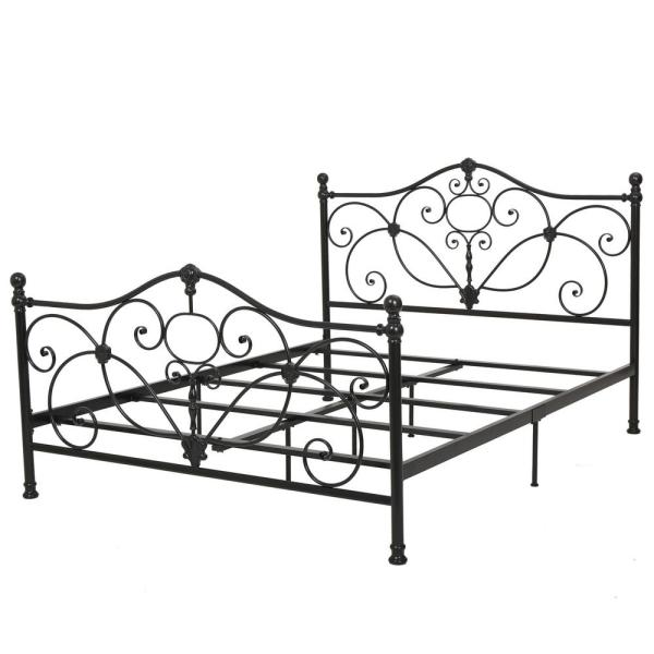 Charcoal Gray Metal Scrollwork Queen Bed Frame