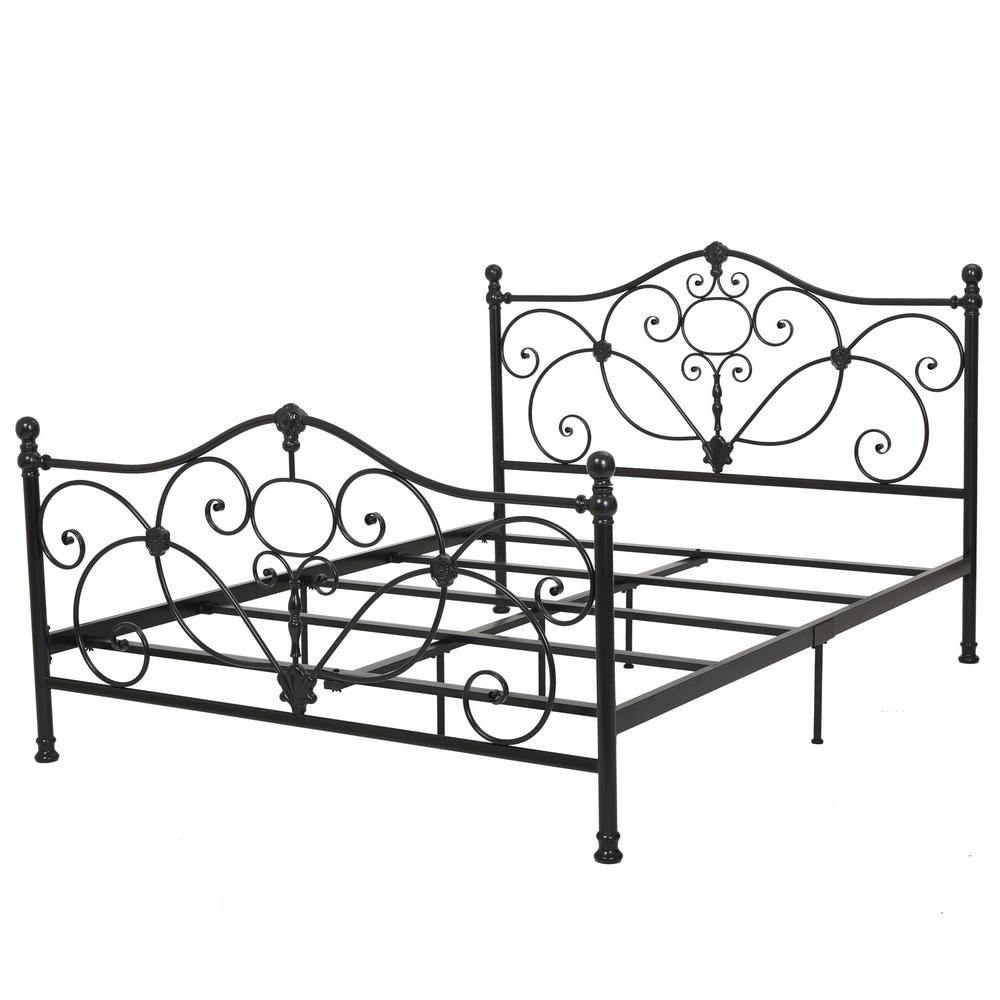 Noble House Charcoal Gray Metal Scrollwork Queen Bed Frame 295766