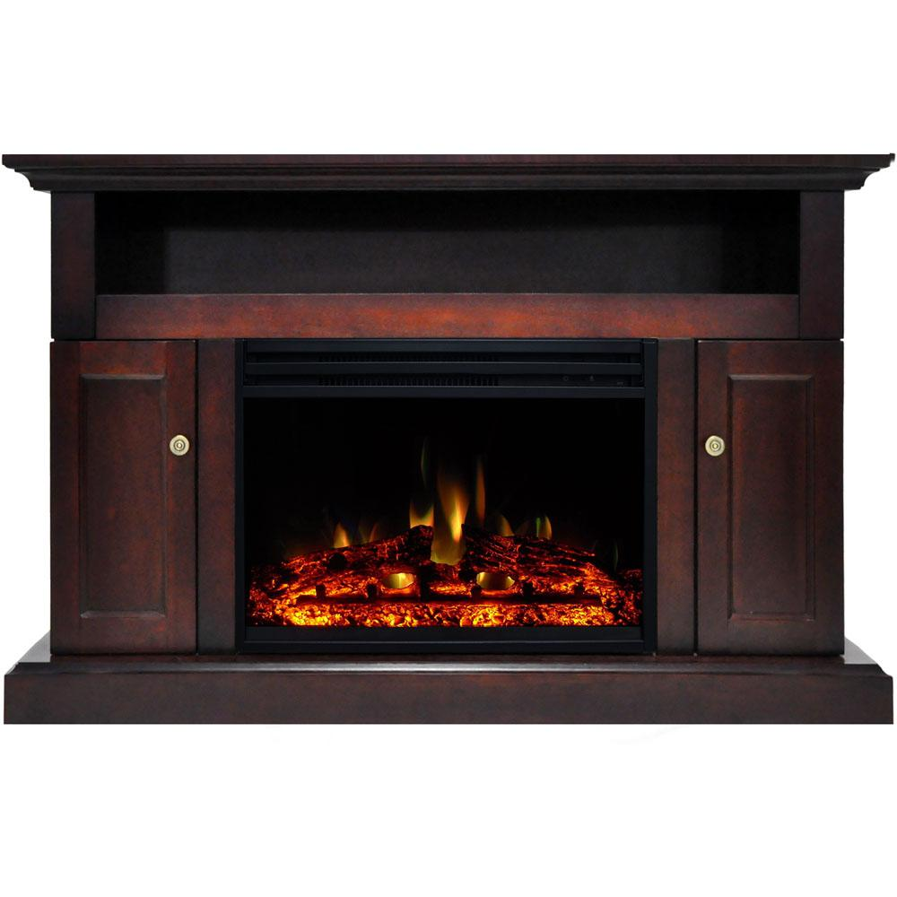 Cambridge Sorrento 47 in. Electric Fireplace Heater TV Stand in Mahogany with Enhanced Log Display and Remote Control