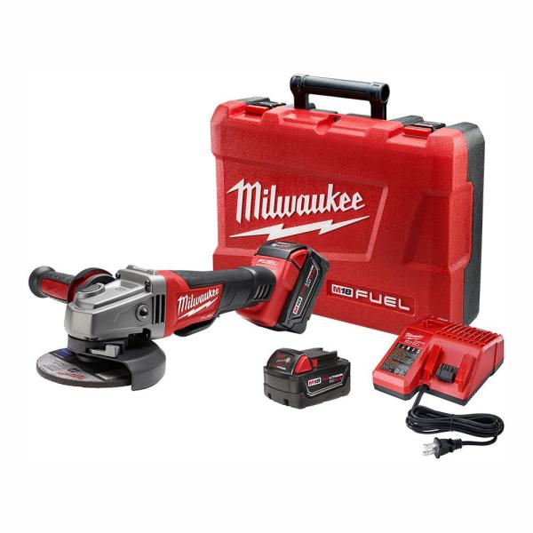 M18 FUEL 18-Volt Lithium-Ion Brushless Cordless 4-1/2 in. /5 in. Grinder W/ Paddle Switch Kit W/ (2) 5.0Ah Batteries