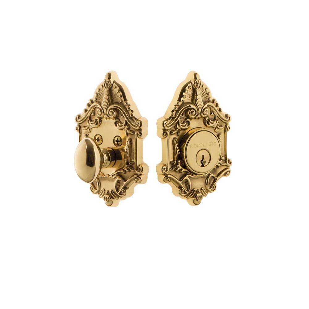 Victorian Plate 2-3/8 in. Backset Single Cylinder Deadbolt in Unlacquered Brass