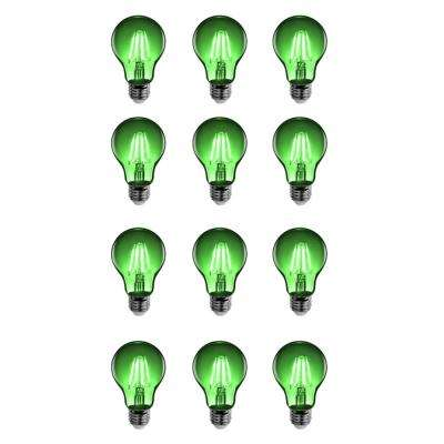 25W Equivalent Green-Colored A19 Dimmable Filament LED Clear Glass Light Bulb (Case of 12)