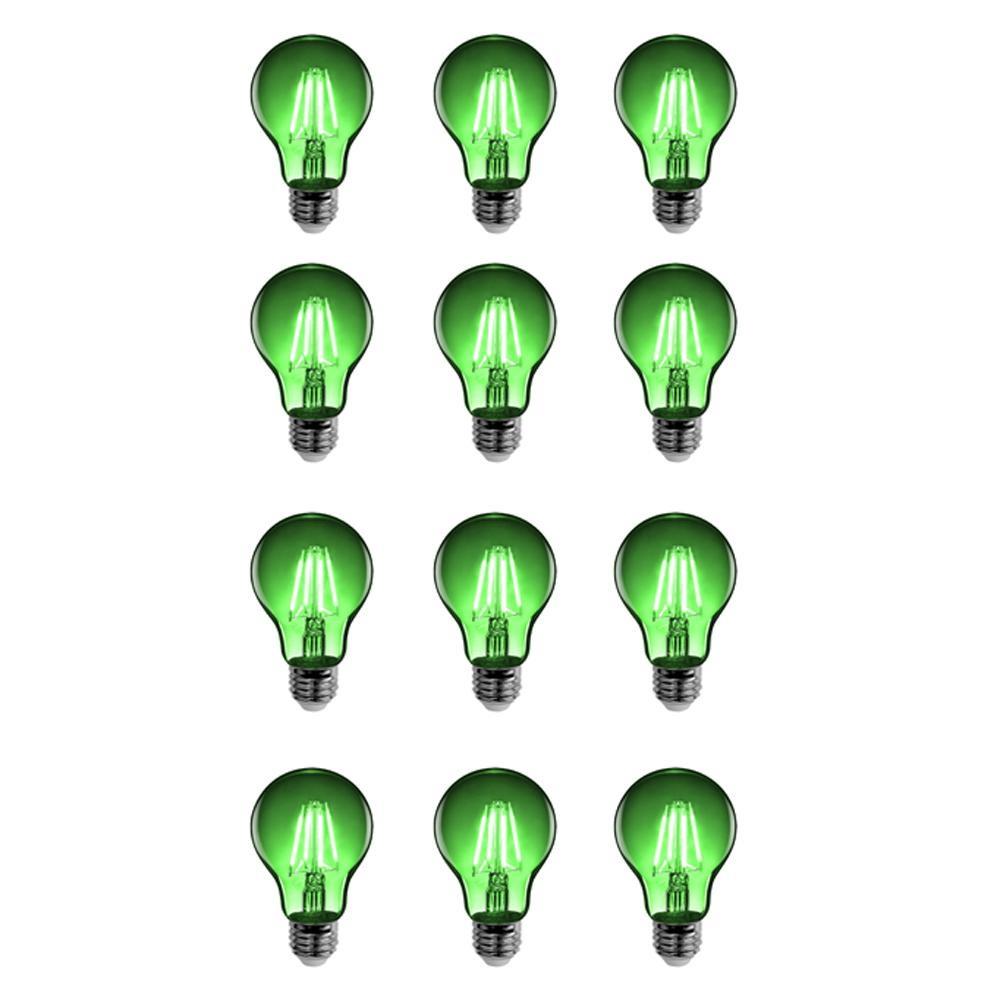 25W Equivalent Green-Colored A19 Dimmable Filament LED Clear Glass Light Bulb
