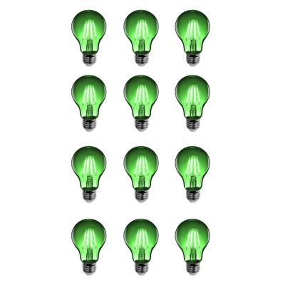 25-Watt Equivalent A19 Medium E26 Base Dimmable Filament Green Colored LED Clear Glass Light Bulb (12-Pack)