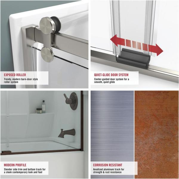Delta Mandara 60 X 58 3 4 In Frameless Contemporary Sliding Bathtub Door In Chrome With Droplet Glass 810592 The Home Depot