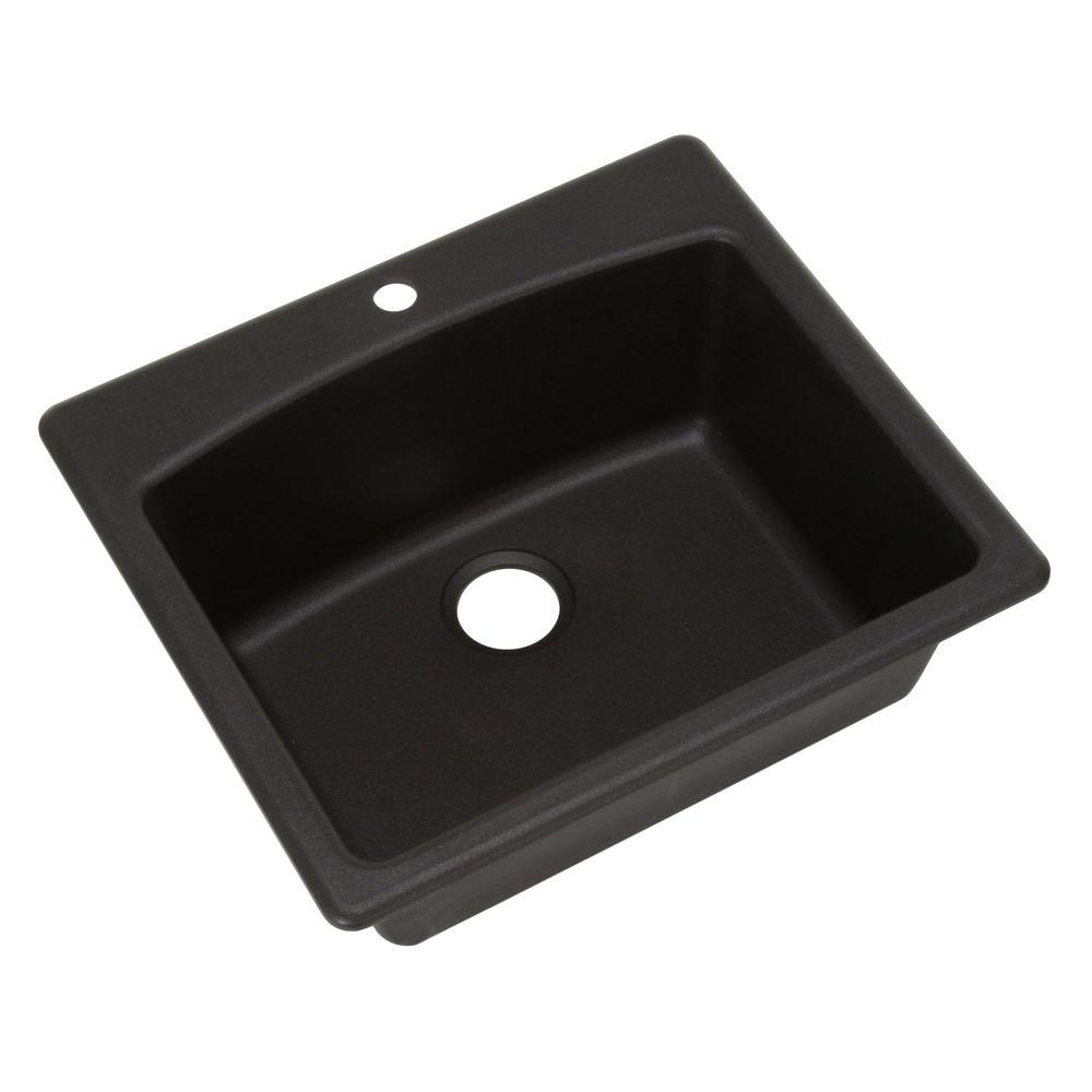 Dual Mount Composite Granite 25.in 1-Hole Single Bowl Kitchen Sink in