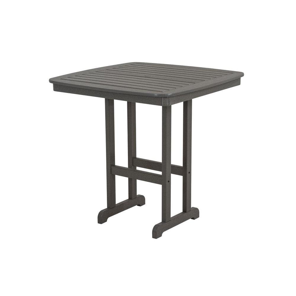 Phenomenal Polywood Nautical Slate Grey 44 In Plastic Outdoor Patio Bar Table Home Interior And Landscaping Pimpapssignezvosmurscom