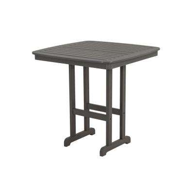 Nautical Slate Grey 44 in. Plastic Outdoor Patio Bar Table