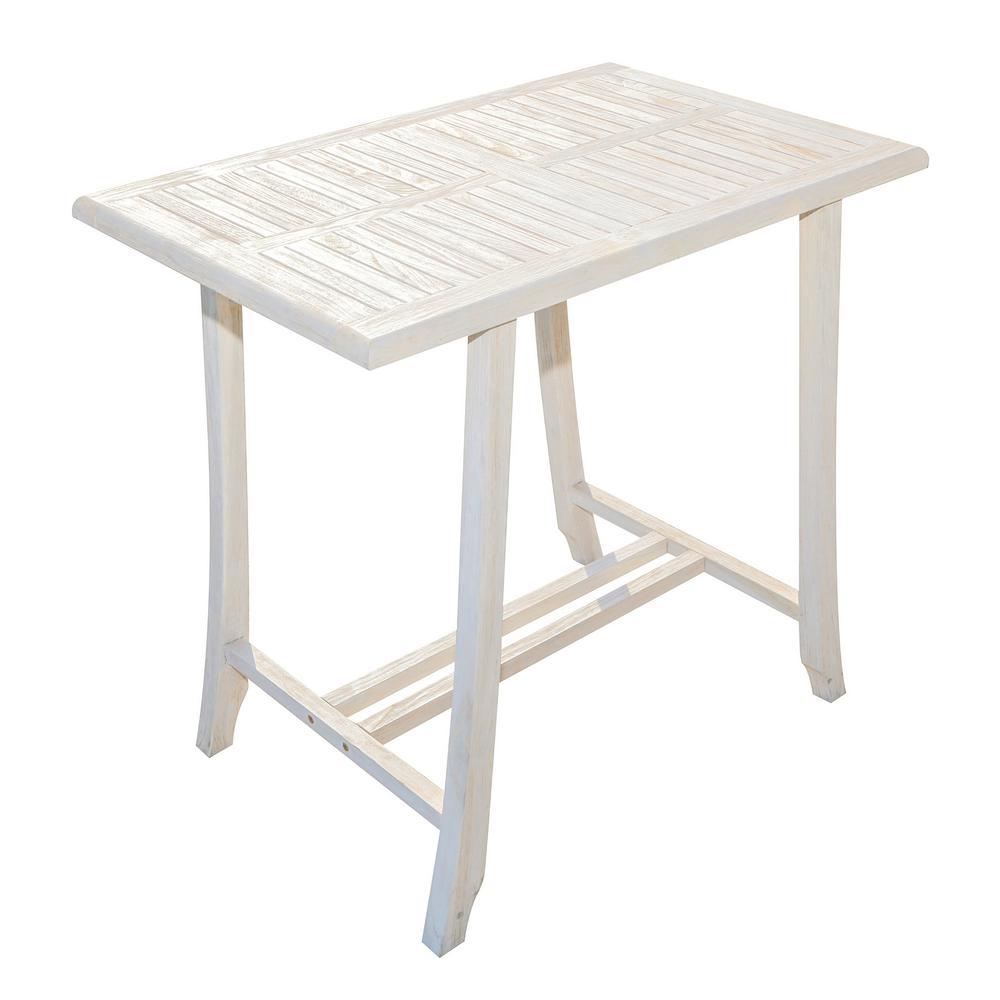 Satori 34 in. Driftwood and Solid Teak Indoor Outdoor Bistro Height Bar Table