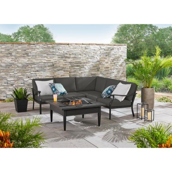 Hampton Bay Riley 3 Piece Black Steel Outdoor Patio Sectional Sofa With Cushionguard Graphite Dark Gray Cushions H142 01429300 The Home Depot