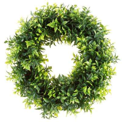 11.5 in. Artificial Opal Basil Leaf Wreath