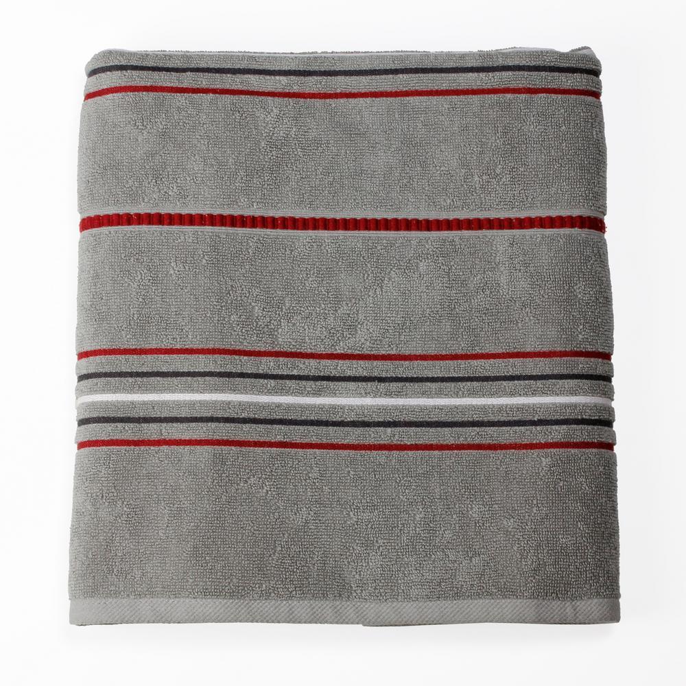Evan Stripe 100% Cotton Bath Towel in Gray