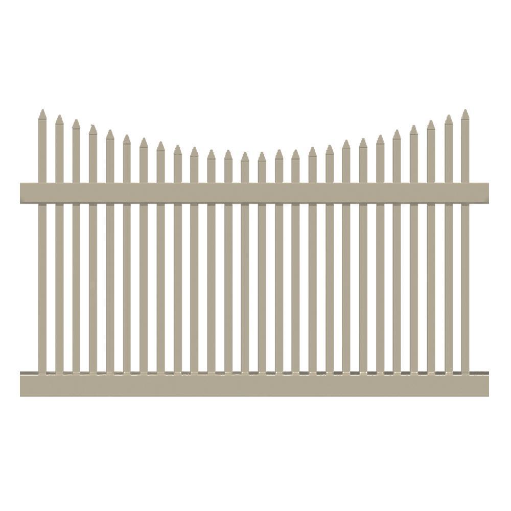 Barrington 5 ft. H x 8 ft. W Khaki Vinyl Picket Fence Panel Kit