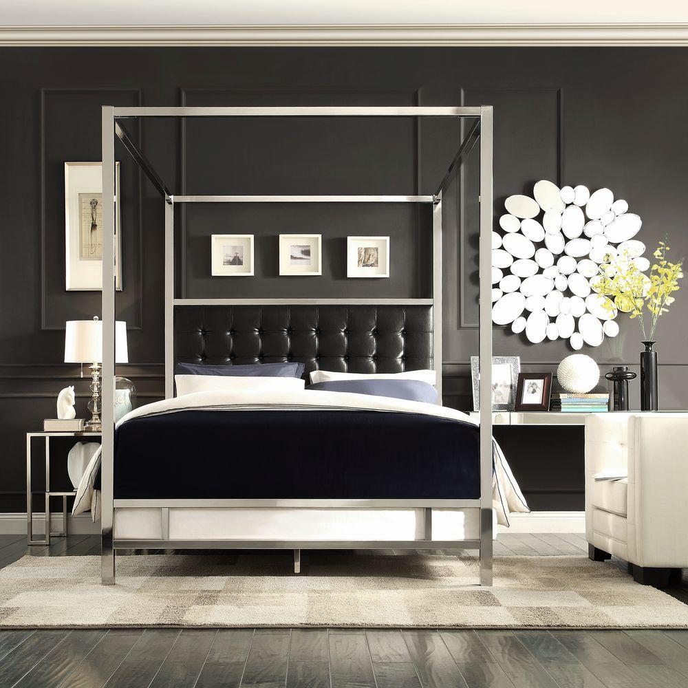 Homesullivan Black Queen Canopy Bed