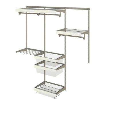 Closet Culture 16 in. x 72 in. W x 78 in. H Wire Closet System with 3 Shelves and White Oak Fascia