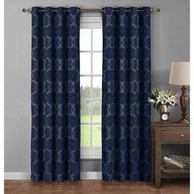 Semi-Opaque Avila Printed Cotton Extra Wide 96 in. L Grommet Curtain Panel Pair, Navy (Set of 2)