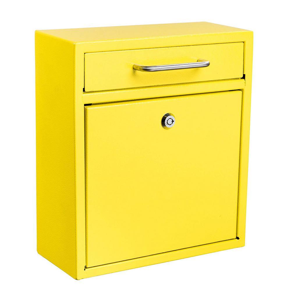 Medium Ultimate Yellow Wall Mounted Mail Box