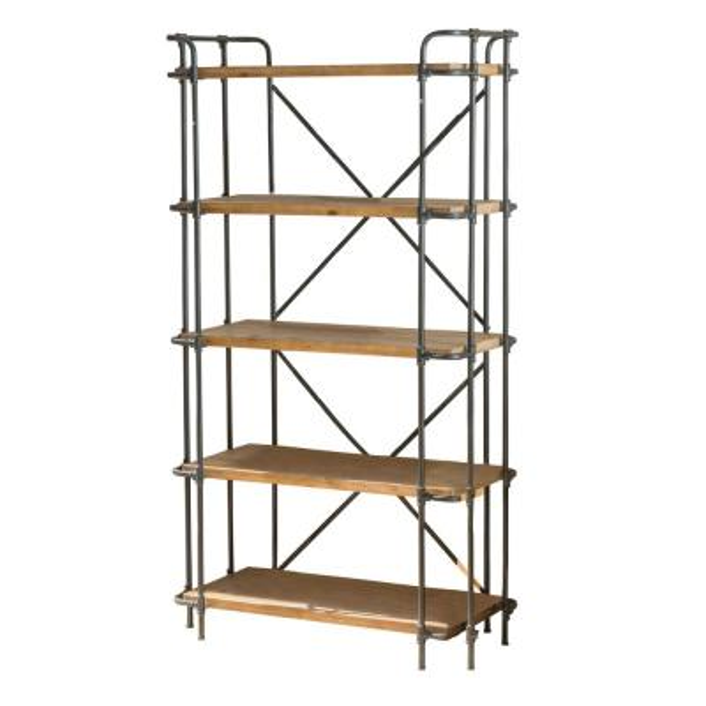 Cedarburg 66.75 in. Antique Brown Wood 5-Shelf Etagere Bookcase
