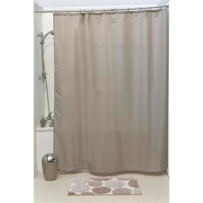 Design S Fabric 79 in. Polyester Shower Curtain Set with 12 Matching Rings Taupe