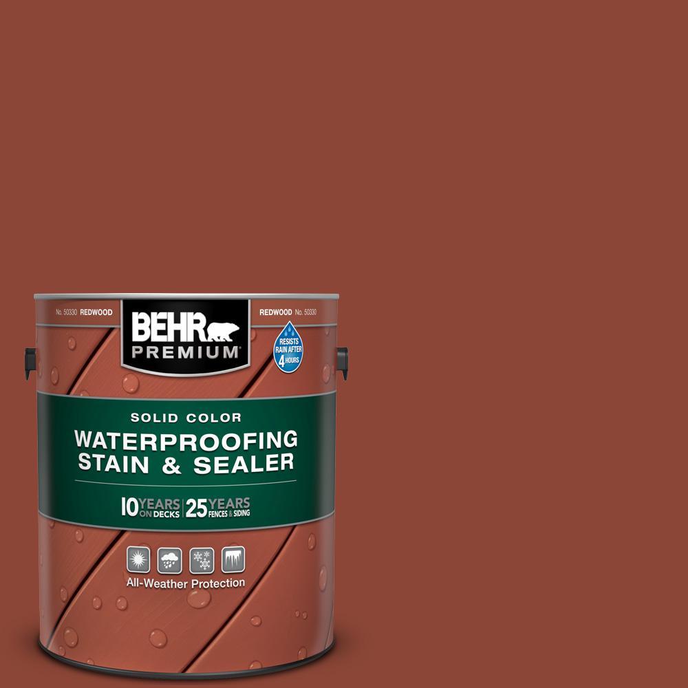 BEHR PREMIUM BEHR Premium 1 gal. #SC-330 Redwood Solid Color Waterproofing Exterior Wood Stain and Sealer