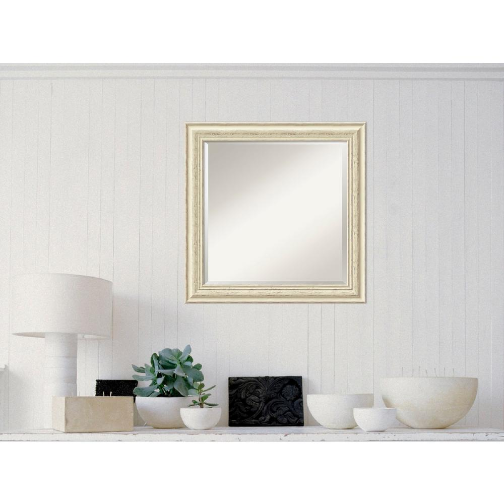 AmantiArt Amanti Art Country White Wash Wood 25 in. W x 25 in. H Distressed Framed Mirror