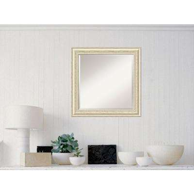 Country White Wash Wood 25 in. W x 25 in. H Distressed Framed Mirror