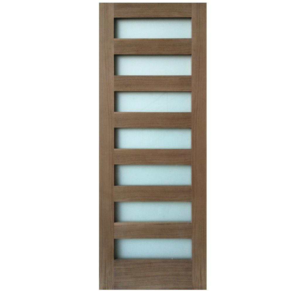 24 in. x 80 in. 7-Lite Satin Etch Walnut Solid Core Wood MDF Interior Door Slab