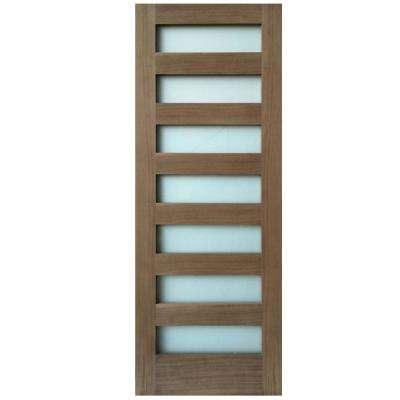 28 in. x 80 in. 7-Lite Satin Etch Walnut Solid Core Wood MDF Interior Door Slab