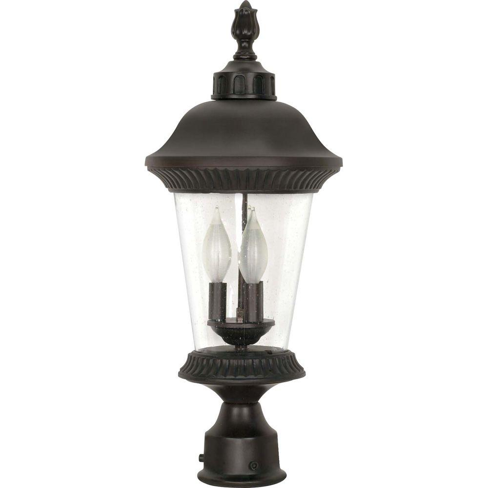 Glomar Clarion 3-Light 22 in. Post Lantern with Clear Seed Glass Finished in Chestnut Bronze-DISCONTINUED