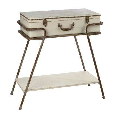 distressed cream suitcase console table