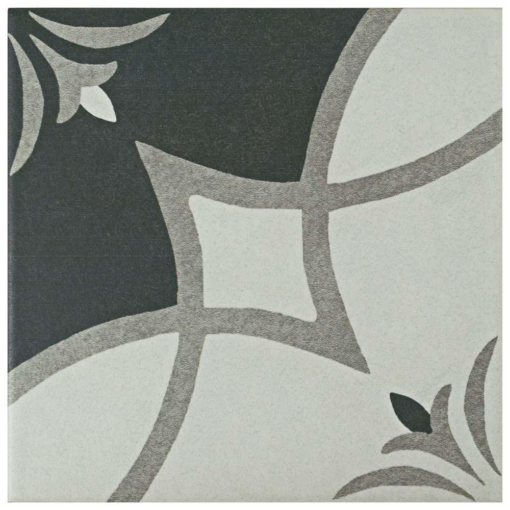 Merola Tile Twenties Crest Encaustic 7-3/4 in. x 7-3/4 in. Ceramic Floor and Wall Tile