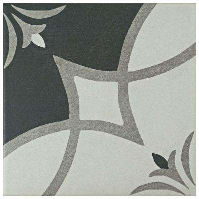 Twenties Crest Encaustic 7-3/4 in. x 7-3/4 in. Ceramic Floor and Wall Tile
