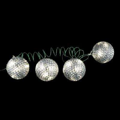 4 in. 36-Light LED White Tinsel Wire Ornaments (4-Pieces)