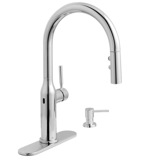 Upson Single-Handle Touchless Pull-Down Kitchen Faucet with TurboSpray and FastMount and Soap Dispenser in Chrome