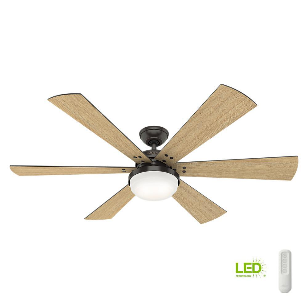 Hunter Cavalry 52 In Led Indoor Noble Bronze Ceiling Fan With Light Kit And Handheld Remote 59633 The Home Depot