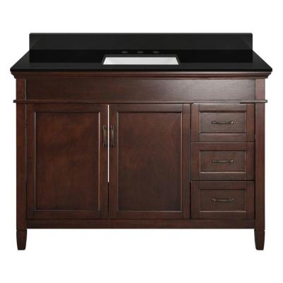 Ashburn 49 in. W x 22 in. D Bath Vanity in Mahogany with Granite Vanity Top in Midnight Black with Trough White Basin