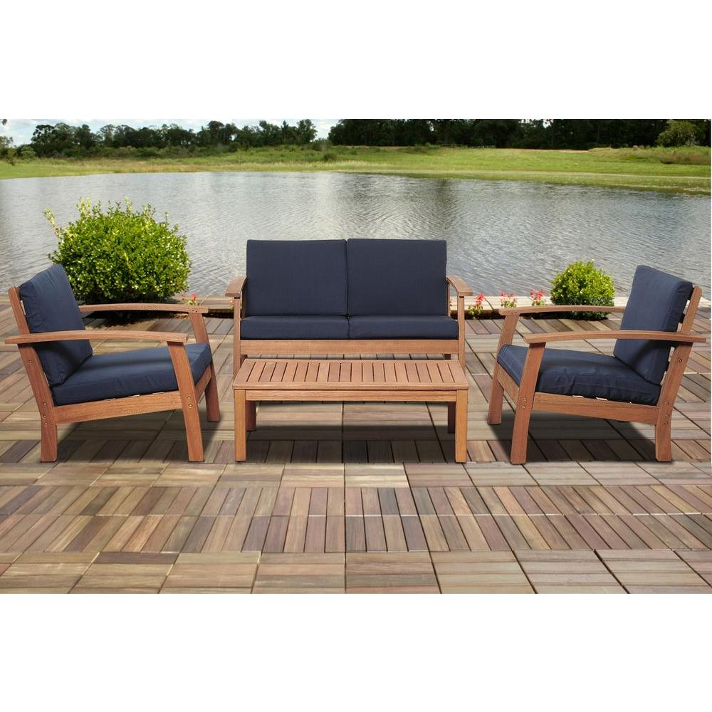 Superb Giles 4 Piece Eucalyptus Patio Deep Seating Set With Blue Cushion