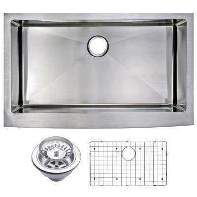Farmhouse Apron Front Stainless Steel 36 in. Single Bowl Kitchen Sink with Strainer and Grid in Satin