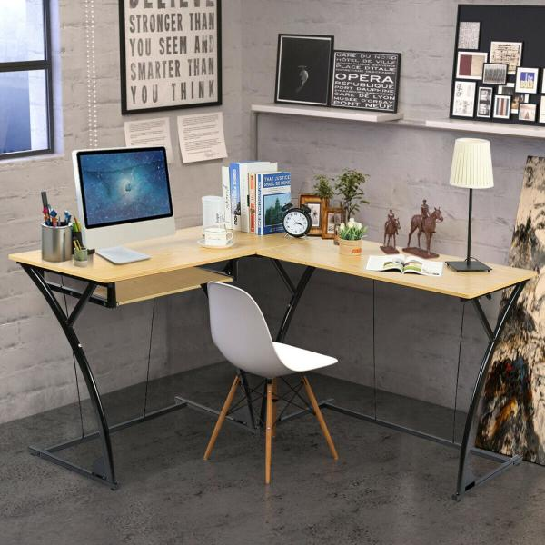 Costway L-Shaped Home Office Corner Desk Computer PC Laptop Table ...