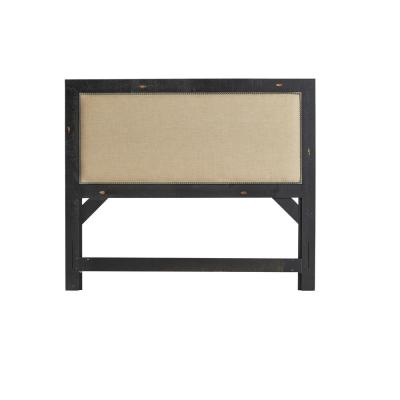 Willow Distressed Black Queen Upholstered Headboard