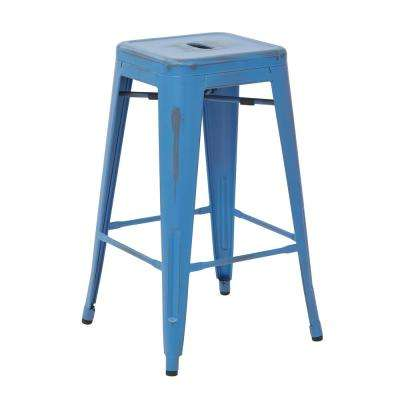Bristow 26 in. Antique Royal Blue Metal Barstool (4-Pack)