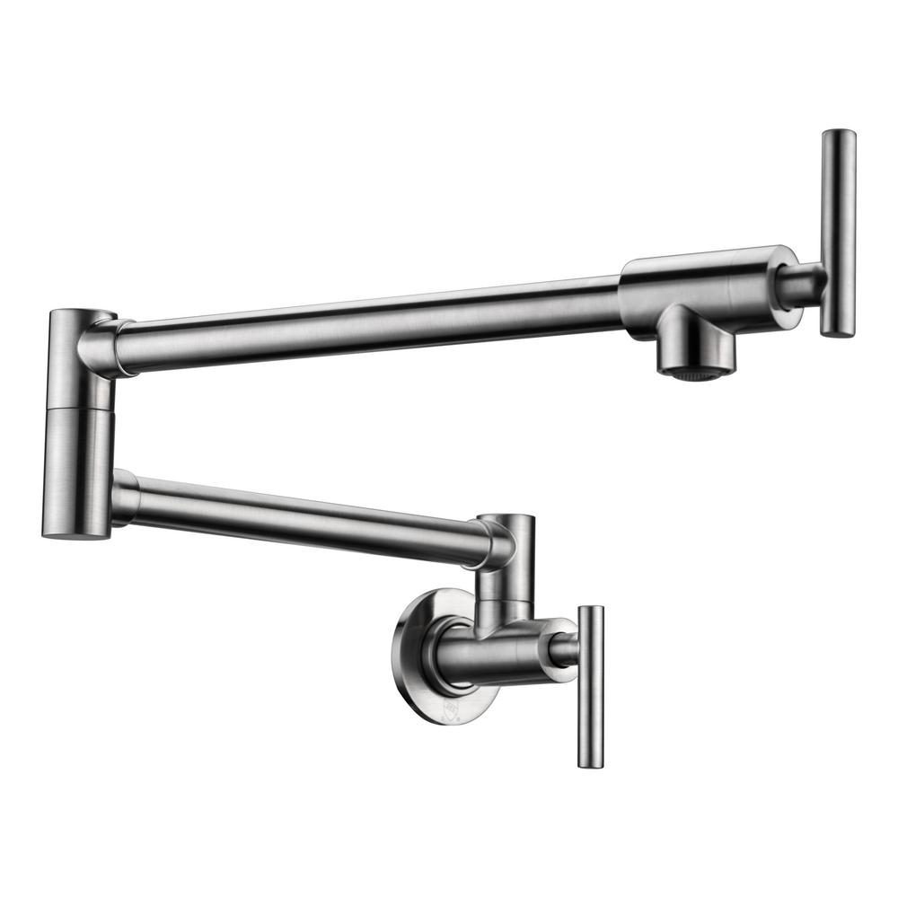 Braccia Series 24 in. Wall Mounted Pot Filler in Brushed Nickel