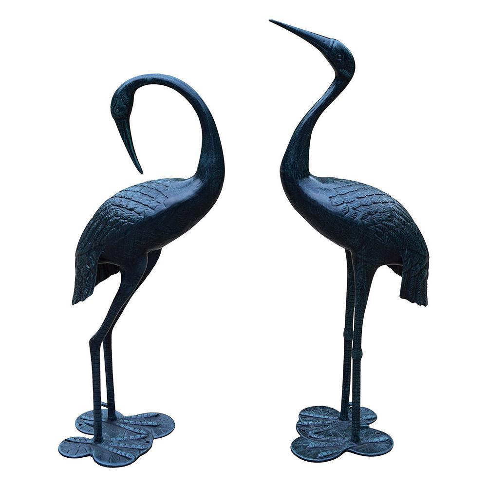 Verdi Grey Beloved Standing Crane Couple Statue