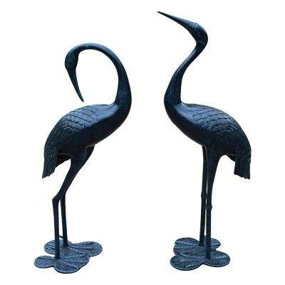 Verdi Grey Beloved Standing Crane Couple Statue