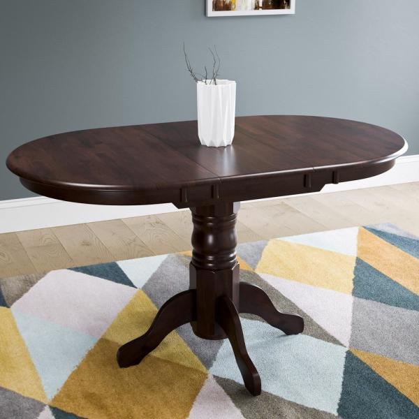 Dillon Cappuccino Stained Wood Extendable Oval Pedestal Dining Table